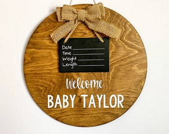 Hospital door hanger / round door sign / Stained wooden hospital sign  / burlap bow / personalized name / unisex door sign / gender neutral