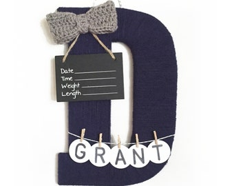 Hospital Door Hanger Boy / Nursery Door Decor / Letter D / Baby Boy Door Hanger / Yarn Letter / Baby Shower Gift /Navy Nursery