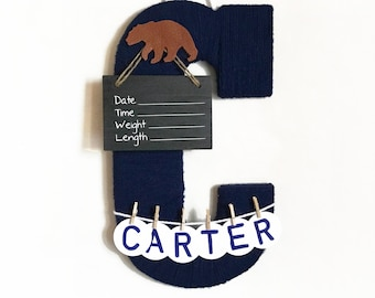 Hospital door hanger boy / nursery decoration / baby boy wall decor / navy nursery / forrest theme /leather bear nursery