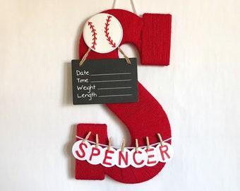 Letter S / Hospital door hanger / Baby shower gift / Nursery decor / newborn door hanger / Red yarn and baseball / baseball nursery