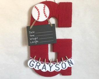 Hospital Door Hanger Boy / Nursery Door Decor / Letter G / Baby Boy Door Hanger / Sports Baseball Nursery / Baby Shower Gift / Door Hanger