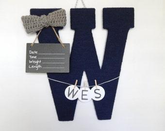 Hospital Door Hanger Boyl / Nursery Door Decor / Letter W / Baby Boy Door Hanger / Navy Yarn Letter / Baby Shower Gift / Door Hanger