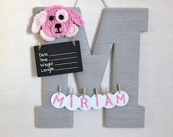Hospital Door Hanger Girl / Nursery Door Decor / Letter M / Baby Girl Door Hanger / Crochet Puppy / Baby Shower Gift / Door Hanger
