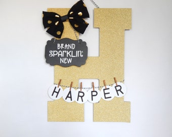 "Brand Sparklin' New / Gold Glitter / Hospital Door Hanging Letter ""H"" /  Personalized Name"