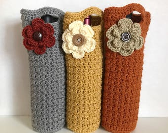 Fall crochet wine totes / wine holders / crochet  bags / gift bags / hostess gift / housewarming gift / bridesmaid gifts