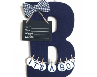 It's a boy! Hospital Door Hanger Boy / Nursery Door Decor / Letter B / Baby Boy Door Decoration / Yarn Letter / Baby Shower Gift