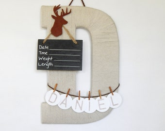 "Hospital Door Hanging Letter ""D"", Girl or Boy, Leather deer embellishment, Personalized Name"
