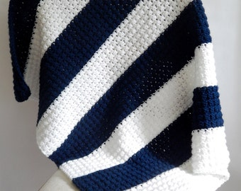 Navy and White Striped Crochet Baby Blanket / Navy and white stripe / Color block blanket / Baby room decor / Baby shower gift