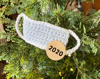 Mini mask ornament / 2020 Christmas ornament / Merry 2020 / Crocheted christmas tree ornament / Quarentine 2020