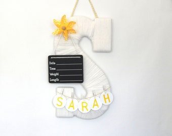 Hospital door hanger baby boy / birth announcement / Baby room decor / Personalized baby girl name / Baby shower gift / Birth announcement