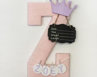 Hospital Door Hanger Girl / Nursery Door Decor / Letter Z / Baby Girl Door Hanger / Yarn Letter / Baby Shower Gift / Door Hanger