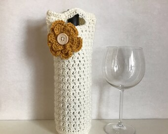 Ivory crocheted wine holder with crochet flower and button accent / crochet flower / housewarming gift / thanksgiving host gift
