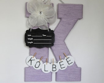 Hospital Door Hanger Girl / Nursery Door Decor / Letter K / Baby Girl Door Hanger / Yarn Letter / Baby Shower Gift / Door Hanger