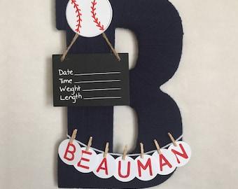 Hospital Door Hanger Boy / Nursery Door Decor / Letter B / Baby Boy Door Hanger / Baseball Sports Nursery / Baby Shower Gift / Door Hanger