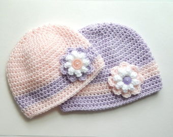 Sister Coordinating Crocheted Winter Hats with flowers