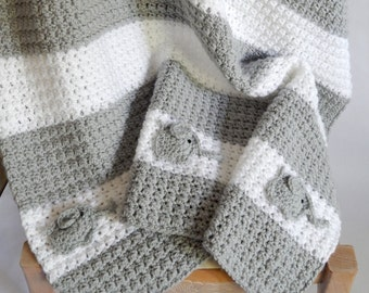 As seen on TV!! Crocheted white and grey blanket with Elephant accent / Elephant Nursery / Grey white room decor