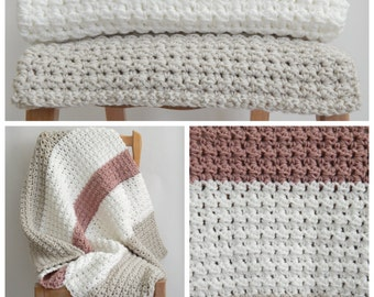 Linen, white and pink striped crochet baby blanket, color blocking