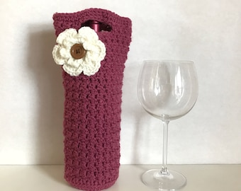 Mulberry crocheted wine holder with crochet flower and button accent / crochet flower / housewarming gift / thanksgiving host gift