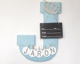 "Letter ""J"" Hospital Door Hanging, Girl or Boy, Chalkboard Birth Info, Personalized Name"