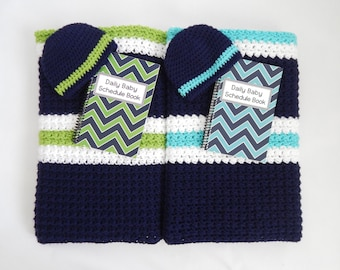 Twin Crochet striped baby blanket (1 navy, white, green - 2 navy, white, teal) with coordinating Chevron cover 3 month Schedule Books