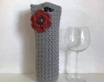 Dark grey crocheted wine holder with crochet flower and button accent / crochet flower / housewarming gift / bridesmaid gift / wine tote