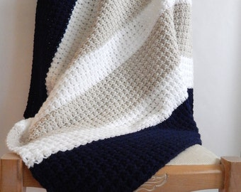 Linen, white and navy striped crochet baby blanket, color blocking crocheted blanket