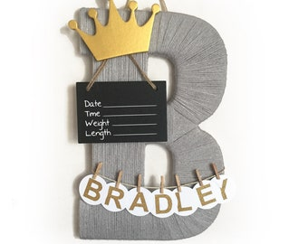 Hospital Door Hanger Boy / Nursery Door Decor / Letter B / Baby Boy Door Hanger / Yarn Letter / Baby Shower Gift /King nursery