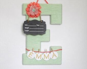 Hospital Door Hanger Girl / Nursery Door Decor / Letter E / Baby Girl Door Hanger / Yarn Letter / Baby Shower Gift / Door Hanger