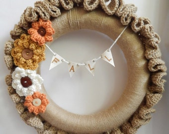 Fall Yarn Covered Crochet Ruffle 13.5 inch Wreath, Embellished with crochet flowers with buttons, FALL letter bunting