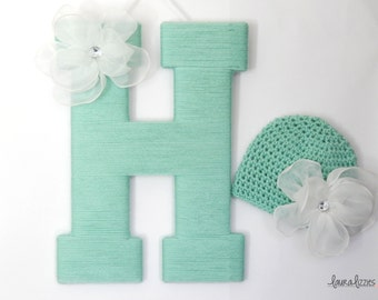 Hospital Door Hanging Letter with matching Newborn Crocheted Hat