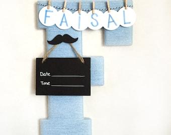 Hospital door hanger / Baby shower gift / Nursery decor / Personalized baby boy name / Birth announcement ideas / Mustache