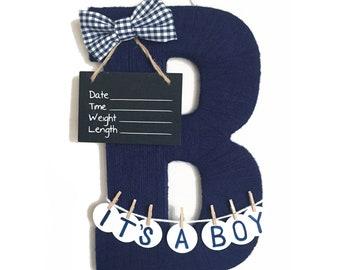 It's a boy! Hospital Door Hanger Boy / Nursery Door Decor / Letter B / Baby Boy Door Decoration / Yarn Letter / Baby Shower Gift