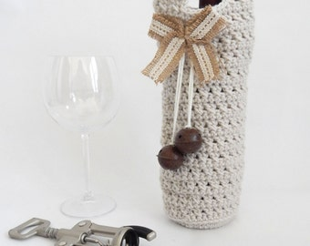 Linen  wine holder, Fall gifts, Wine Cozy