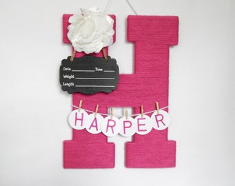 """Hospital Door Hanging Letter """"H"""", Girl or Boy, Chalkboard Birth Info, Personalized Name"""
