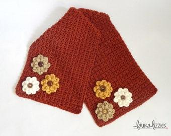 Crocheted Fall Table Runner, Flower Embellishments