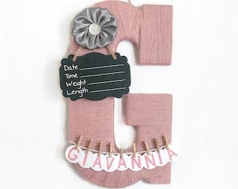 Hospital Door Hanger Girl / Nursery Door Decor / Letter G / Baby Girl Door Hanger / Satin flower / Door Hanger