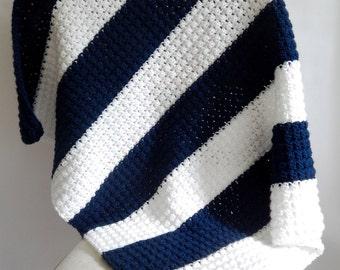 Navy and White Striped Crochet Baby Blanket / Navy and white stripe / Color block blanket / Baby room decor / Baby shower gift