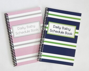 Twin stripes Daily Baby Schedule Book, Nursing Journal, Feeding Scheduling for Baby, Customized Cover