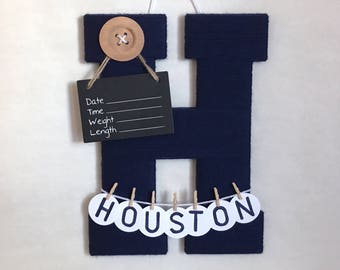 Hospital door hanger / Letter H / Baby shower gift / Yarn Letter / Baby room decor / large button / nursery decor / baby boy names
