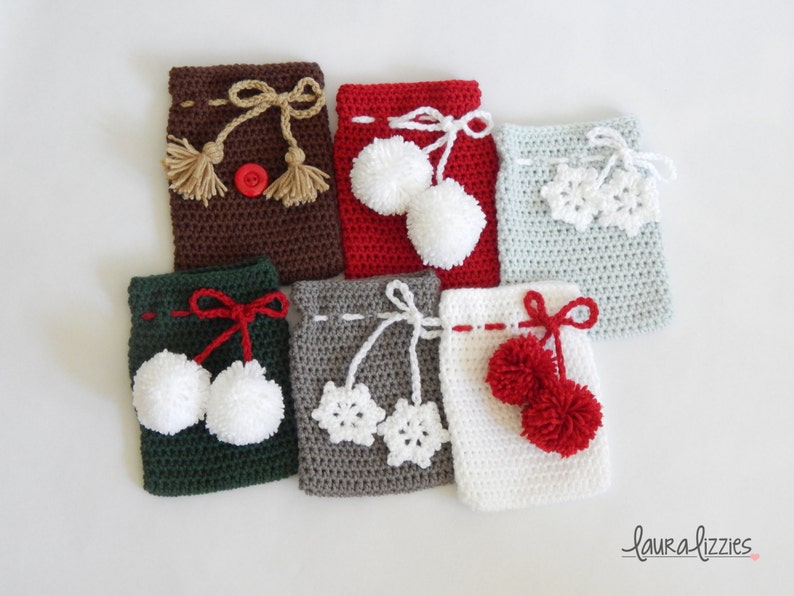 Small Crocheted Christmas Gift Bags 4in X 6in Etsy