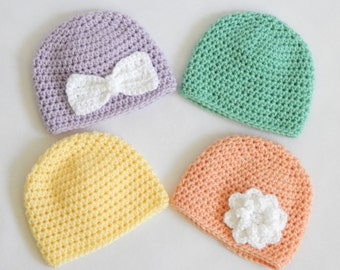 Simple crocheted hats for newborns