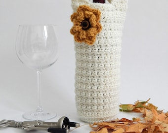 Ivory / Sungold flower crochet wine holder, Fall gifts, Wine Cozy