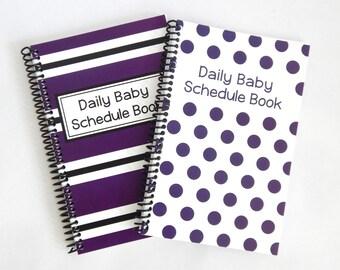 School Spirit - Daily Baby Schedule Book - purple and white