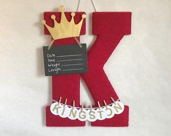 Hospital Door Hanger Boy  / Nursery Door Decor / Letter K / Baby Boyl Door Hanger / Gold Crown / Baby Shower Gift / Door Hanger