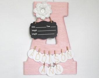 Hospital Door Hanger Girl / Nursery Door Decor / Letter A / Baby Girl Door Hanger / Yarn Letter / Baby Shower Gift / Door Hanger
