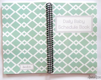 Square cover Daily Baby Schedule Book, Mint and white, Feeding schedule book, Nursing journal