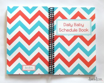 Ready to ship!! Turquoise and Coral Chevron 6 month Daily Baby Schedule Book, Nursing Journal