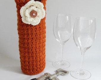 Burnt Orange Crocheted wine holder, wine holder, wine cozy, ivory accent flower, Texas, UT