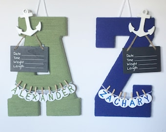 Twin Hospital Door Letters, Girl or Boy, Chalkboard Birth Info, Personalized Name