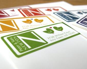 Monogram Address Labels Return Address Labels Love Bird Address Label Stickers Address Labels 60 Custom Address Label Stickers